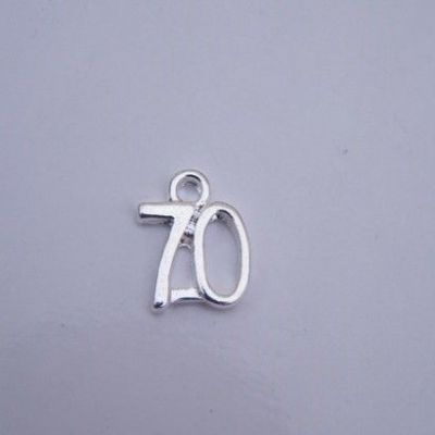 70th Birthday Wine Glass Charm - Elegance Style